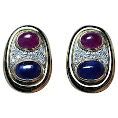 Vintage 18K Gold Colorless Diamond Ruby Sapphire Earrings Estate Heavy VS-F