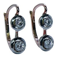 Imperial Russian Antique Old European cut Diamond Earrings 18K Gold Platinum