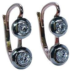 Imperial Russian Antique Old European cut Diamond Earrings 18K Gold Platinum