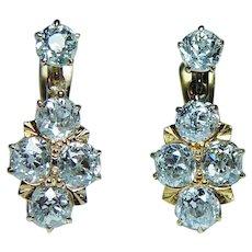 Russian Antique 3.3ct Old Mine cut Diamond Earrings 14K Gold circa 1870