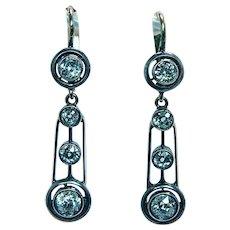 Imperial Russian Antique Old European Diamond Earrings 14K Gold 56 Zolotniks