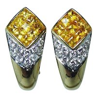 Fancy Yellow Princess Sapphire 18K Gold  Diamond Earrings High End