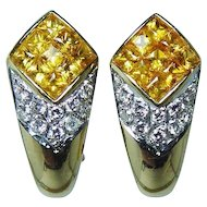 Vintage 18K Gold Fancy Yellow Princess Sapphire Diamond Earrings High End Estate