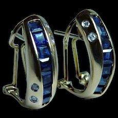 Vintage 14K Gold Diamond Sapphire Princess Earrings Estate Omega