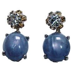 Vintage Star Sapphire Diamond Dangle Earrings 14K Gold Estate