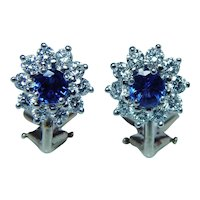 Platinum 14K Gold Diamond Sapphire Earrings Omega