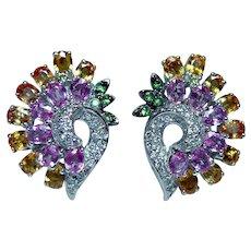Vintage 18K White Gold Fancy Color Sapphire Yellow Diamond Earrings Estate