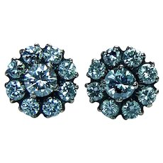 Vintage Diamond Earrings Studs 14K Rose Gold Estate .94ct