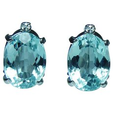 Vintage H Stern Aquamarine Diamond Earrings 18K White Gold Estate Designer