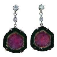 Watermelon Tourmaline Diamond Dangle Earrings 14K Gold