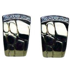 Vintage 18K Gold Diamond Textured Earrings Estate
