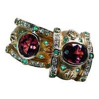 Etruscan 18K Gold Pink Paraiba Blue Tourmaline Diamond Earrings John C Rinker Designer Heavy Estate Vintage