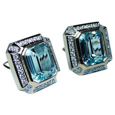 28ct Blue Topaz Diamond Earrings 14K Gold Omega Large Fine