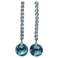 14K White Gold Diamond Blue Topaz Long Dangle Earrings