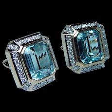 Vintage 28ct Blue Topaz Diamond Earrings 14K Gold Omega Large 19 grams Estate