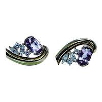 Amsterdam Sauer 18K Gold Pink Imperial Topaz Diamond Earrings Vintage Designer