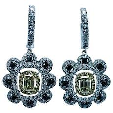 Vintage 3.2ct Emerald cut Fancy Yellow Black Diamond Dangle Earrings 18K White Gold Estate