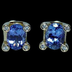 Vintage 18K Gold Tanzanite Diamond Earrings Estate High Quality