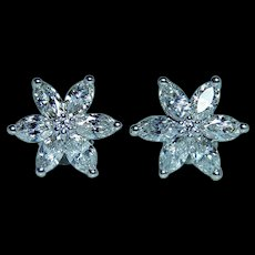 Vintage 1.70ct Marquise Diamond Victoria Earrings 14K White Gold Estate