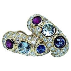 Vintage Ruby Sapphire Aquamarine Diamond Earrings 18K Gold Designer 7.4ct Midcentury