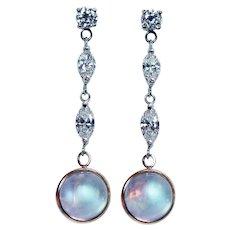 "Sugarloaf Moonstone Marquise Diamond Long Dangling Earrings 14K White Gold 1.5"""