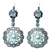 Antique Edwardian Old Mine Diamond Pearl Dangle Earrings 14K Gold French Backs