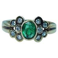 Emerald Diamond 14K Gold Ring Band