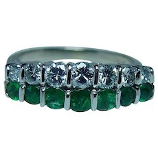 Vintage Platinum 18K Gold Diamond Emerald Ring Band Estate