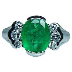 Vintage 14K White Gold Diamond 2.2ct Emerald Ring Estate