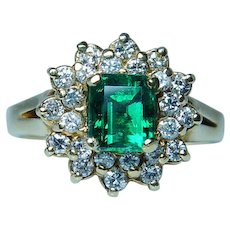 Vintage 18K Gold Colombian Emerald Diamond Halo Ring Estate