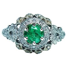 Vintage Colombian Emerald 18K White Gold Diamond Ring
