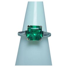 Vintage Platinum Diamond 2.41ct Emerald 3-Stone Ring Large Diamonds GIA