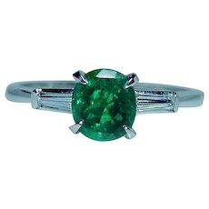 Vintage Platinum Diamond Emerald 3-Stone Ring Dainty Estate