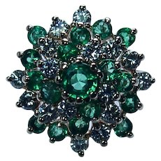 Vintage Colombian Emerald Diamond Cluster Ring 14K Gold Estate