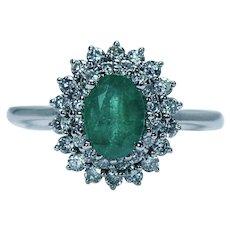 Colombian Emerald Diamond Halo Ring 14K White Gold Vintage Estate EMA