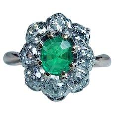 Edwardian 18K Gold Platinum Colombian Emerald Old Mine Diamond Ring