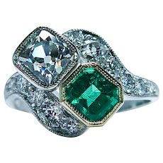Art Deco Mine Asscher Square Cushion Diamond Emerald Ring Platinum Toi Moi