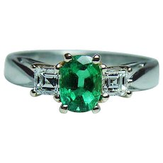 Vintage Colombian Emerald VVS1  F Asscher Diamond 14K Gold Platinum 3 stone Ring Estate - Red Tag Sale Item