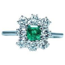 Vintage Colombian Emerald Diamond 18K White Gold Halo Ring