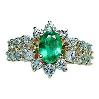 Vintage Colombian Emerald Marquise Round Diamond 14K Gold Ring