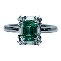 Vintage 18K White Gold Diamond Baguette Gem Colombian Emerald Halo Ring Designer