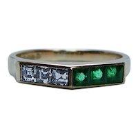 English Asscher Diamond Emerald Ring Band 18K Gold Estate Designer Set