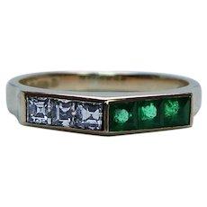 English Asscher Diamond Emerald Ring Band 18K Gold Estate Designer