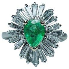 Vintage Platinum Colombian Emerald Baguette Diamond Ballerina Ring Estate - Red Tag Sale Item