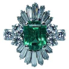 Colombian Emerald Baguette Diamond Ballerina Ring 18K White Gold Vintage Estate