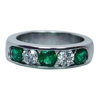 Colombian Emerald Diamond 14K White Gold Anniversary Ring Band Heavy