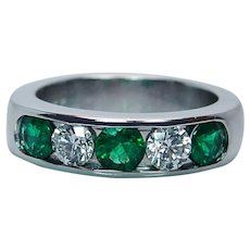 Colombian Emerald Diamond 14K White Gold Anniversary Ring Band Heavy