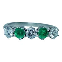 Platinum Diamond Emerald Anniversary Ring Band
