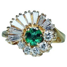 Colombian Emerald Baguette Diamond 18K Gold Ballerina Ring