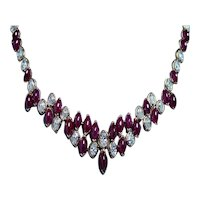 Oscar Heyman Ruby Diamond Necklace 18K Gold Platinum Certified GIA 59ct